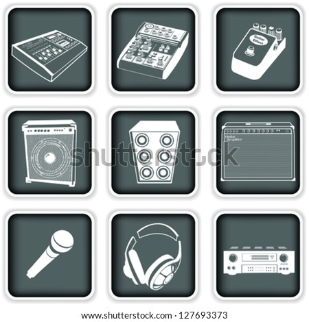 music equipment icons - stock vector