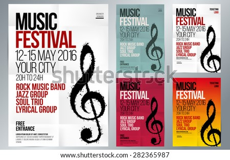 Music event design. Suitable for poster, promotional flyer, invitation, banner or magazine cover. Set of templates with various colors. Background texture folded paper. Vector. Editable by layers. - stock vector