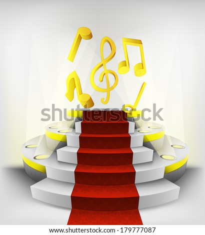 music exhibition on round illuminated podium vector illustration - stock vector
