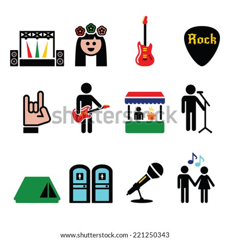 Music festival, live concert vector icons set - stock vector