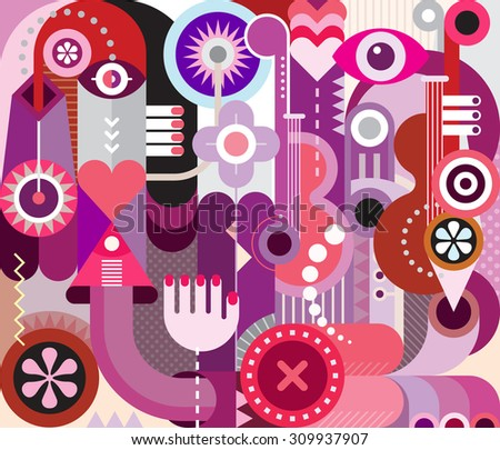 Music festival poster. Abstract art vector design, decorative collage of various colorful objects and shapes. - stock vector