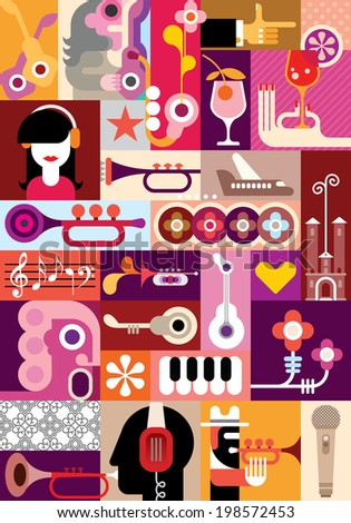 Music Festival - vector graphic design. Collage of some variety pictures. - stock vector