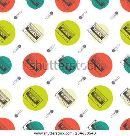 Music flat line retro seamless pattern with boombox, mic, cassete. Vector illustration for your artworks, poster, banners, print. - stock vector