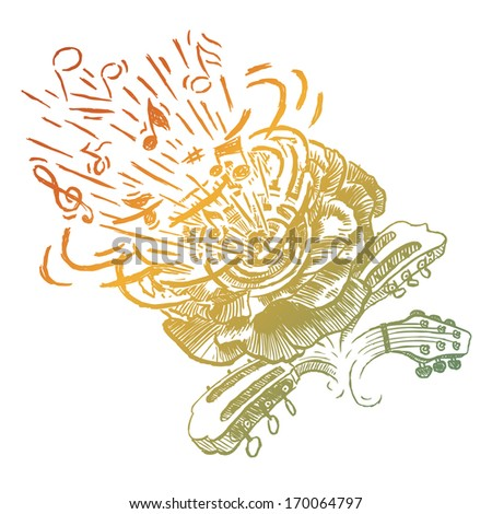 Music flower guitar poster - stock vector