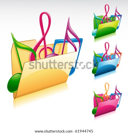 music folder icon with color variations - stock vector