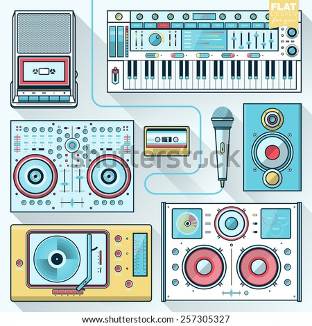 Music gadgets & instruments illustration concept in flat design. Music, sound production, technology icons. - stock vector