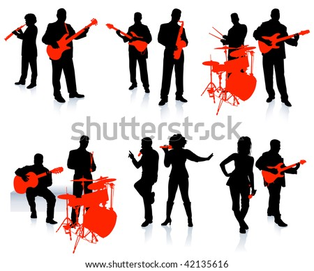Music group with singers and instruments on white background - stock vector