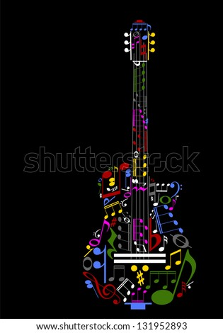 Music guitar concept made with musical symbols - color version - stock vector