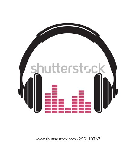 Music headphones vector icon - stock vector
