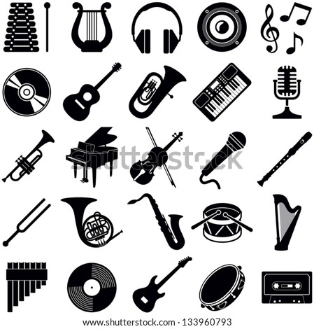 Music icon collection - vector silhouette illustration - stock vector