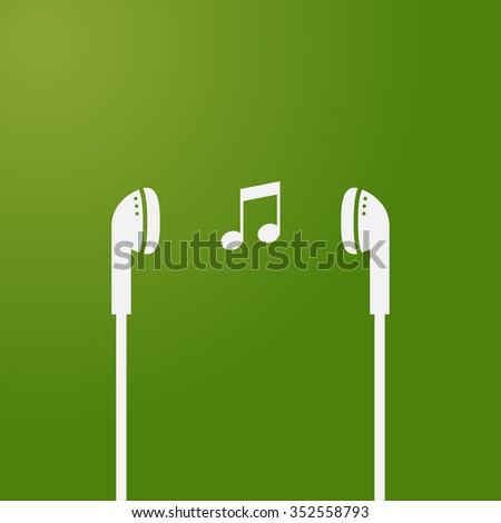 music icon headset earphone headphone - stock vector