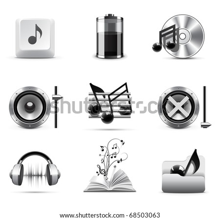 Music icons | B&W series - stock vector