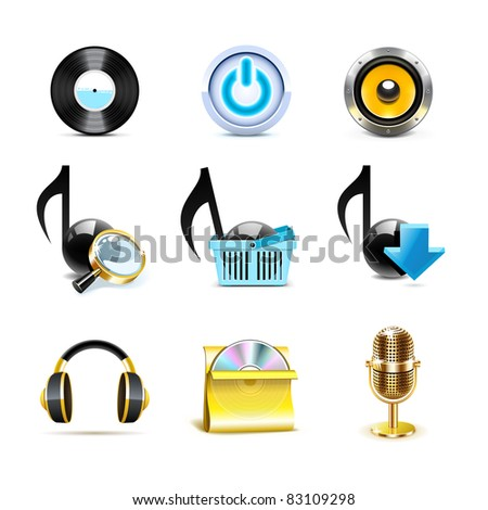 Music icons | Bella series - stock vector