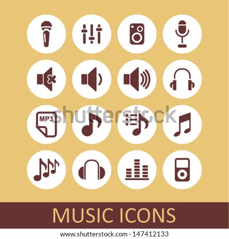 Music icons for app - stock vector