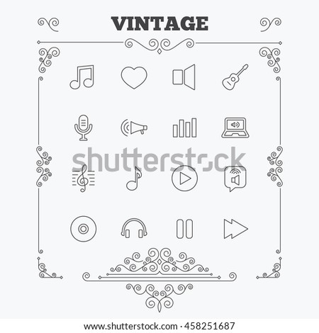 Music icons. Musical note, acoustic guitar and microphone. Notebook, dynamic and headphones symbols. Vintage ornament patterns. Decoration design elements. Vector - stock vector