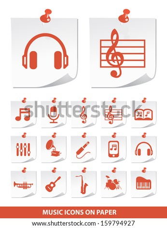 Music Icons on Stick Notes. - stock vector
