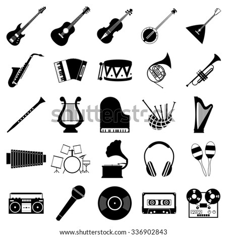 Music icons set for web and mobile device - stock vector