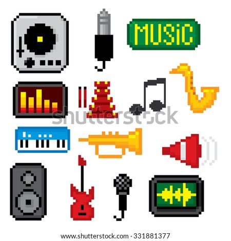Music icons set. Pixel art. Old school computer graphic style. - stock vector