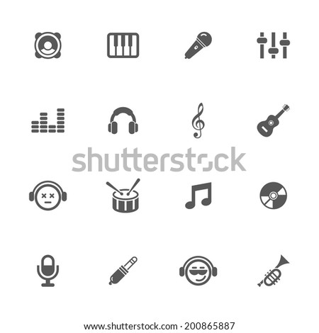 Music icons, vector. - stock vector