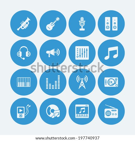 Music icons.Vector EPS10  - stock vector
