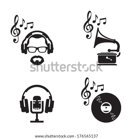 Music icons. Vector format - stock vector