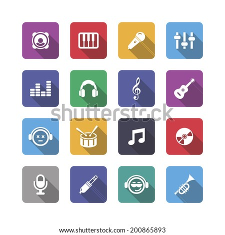 Music icons with shadow, vector. - stock vector