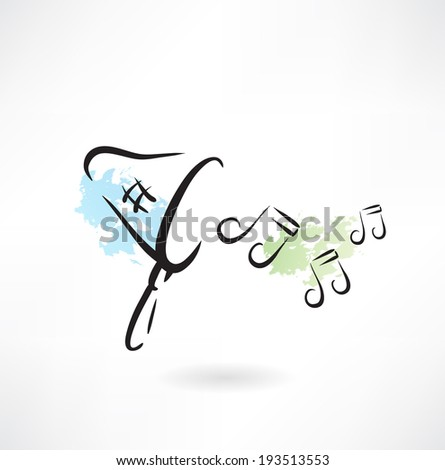 Music in the scoop-net grunge icon - stock vector