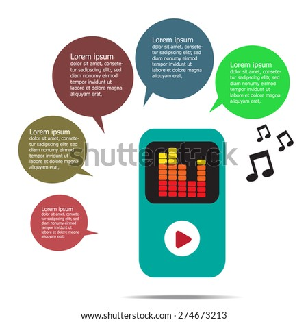 Music infographic with mp3 music player on white background, Flat design.Vector EPS 10 - stock vector