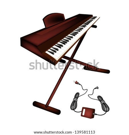 Music Instrument, An Illustration Brown Color of Digital Midi Keyboard or Synthesizer Isolated on White Background  - stock vector