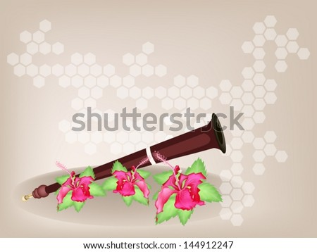 Music Instrument, An Illustration Brown Color of Wooden Serunai and Red Hibiscus Flowers or Bunga Raya on Brown Background with Copy Space for Text Decorated  - stock vector
