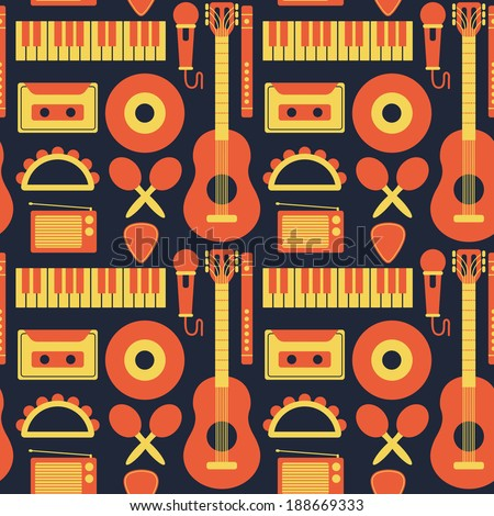 music instrument background - stock vector