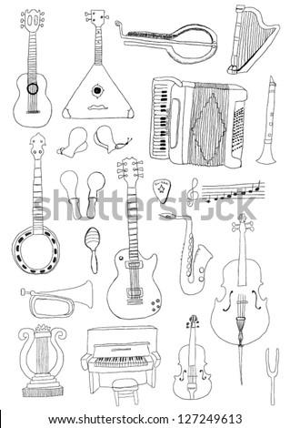 Music Instruments - stock vector