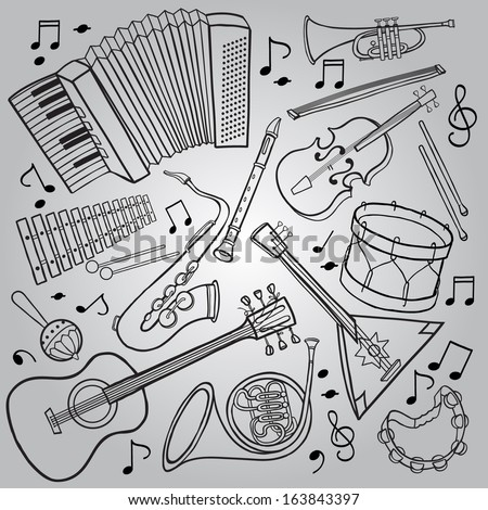 Music Instruments. Black and White outline. SET. Hand drawn. Great illustrations for School and Pictures Books, magazines, advertising and more. VECTOR. - stock vector
