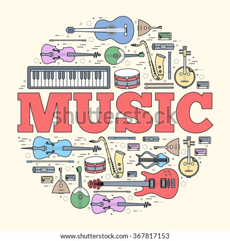 Music instruments circle concept. Icons design for your product or design, web and mobile applications. Vector thin lines illustration background - stock vector