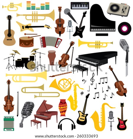 Music Instruments Icons Collection, Piano, Trumpet, Saxophone, Violin And Guitar Etc (vector Art) - stock vector