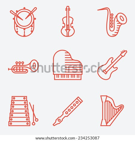 Music instruments, thin line style, modern flat design - stock vector