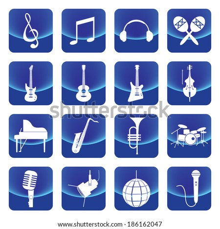 music instruments vector button include guitar, cello, piano, drums - stock vector