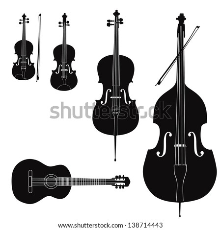 Music instruments vector set. Stringed musical instrument silhouette on white background. - stock vector