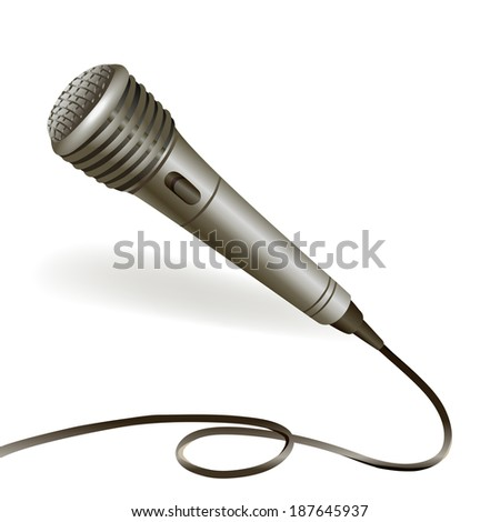 Music karaoke microphone musical equipment with cable emblem isolated vector illustration - stock vector