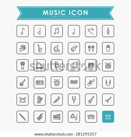 music line icons - stock vector