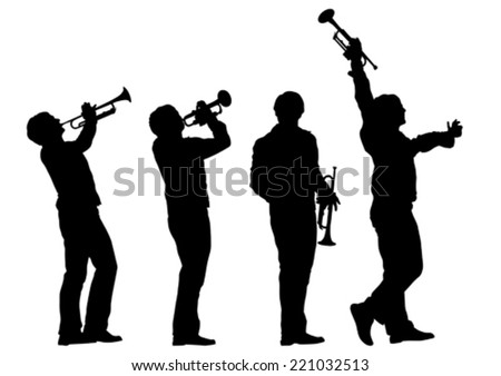 Music man whit trumpet  on white background - stock vector