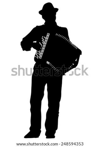 Music man white accordion on white background - stock vector