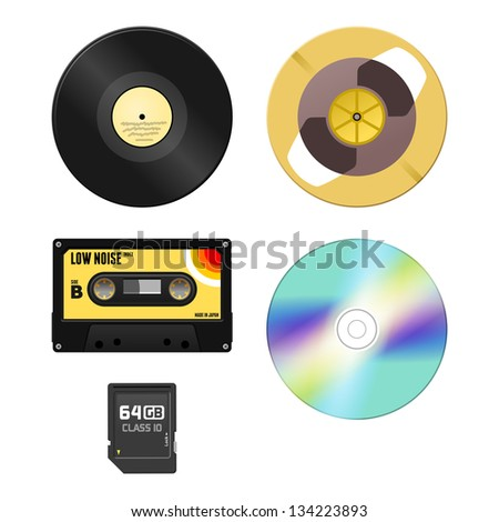 Music Media - Audio Cassette and Gramophone disc and Compact Disc and Memory Card - stock vector