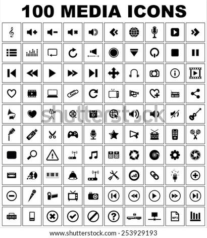 Music Media Icon set - stock vector