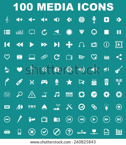 Music Media Icon set - stock vector