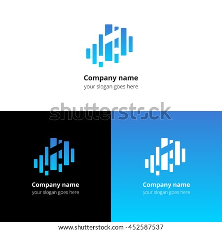Music note and equalizer beat background flat logo icon vector template. Abstract symbol and button with blue gradient for music service or company. - stock vector