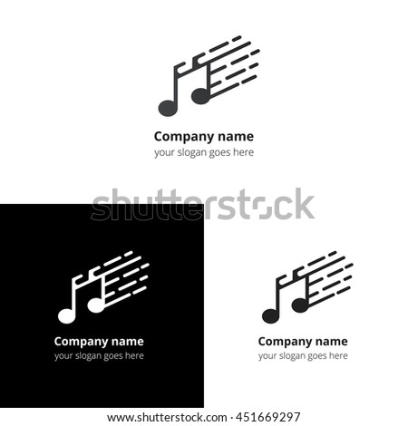 Music note and fast motion beat flat logo icon vector template. Abstract symbol and button with black-grey gradient for music service or company. - stock vector
