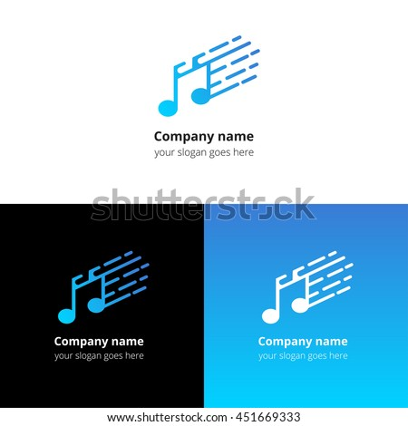 Music note and fast motion beat flat logo icon vector template. Abstract symbol and button with blue gradient for music service or company. - stock vector