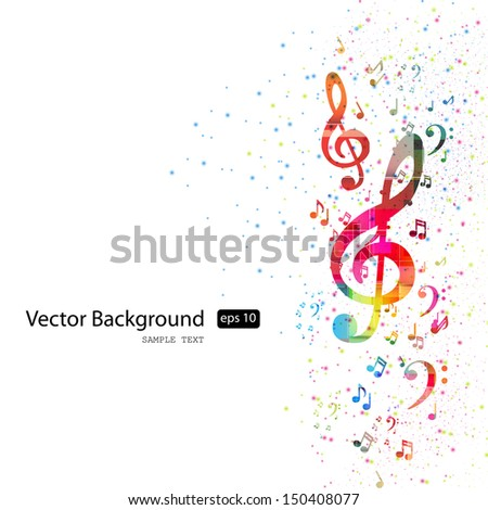music note background, easy editable - stock vector