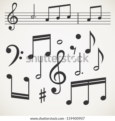 Music note collection on old paper - stock vector